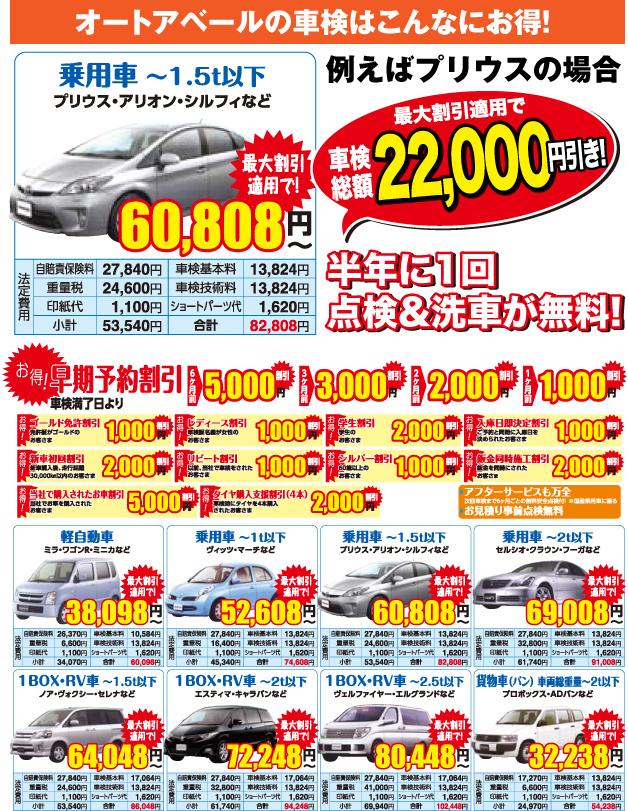 車検総額60,808円〜